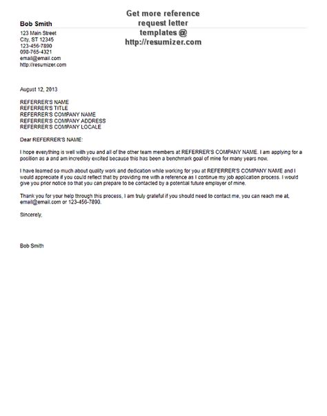Reference Request by Reference Request Letter Template 1