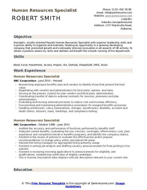 Human Resources Resume Objective by Human Resources Specialist Resume Sles Qwikresume