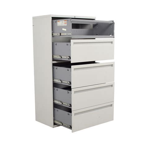 90% OFF   Hon Hon White Five Drawer Lateral File Cabinet