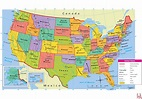 Large attractive political map of the USA.with capital and ...