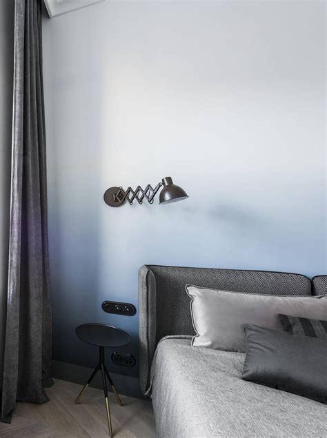 bedroom   soft blue ombre accent wall contemporist