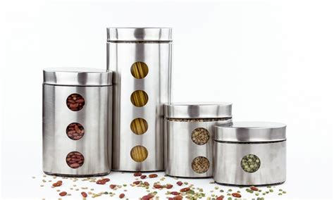 stainless steel kitchen canister set kitchen canister sets groupon goods