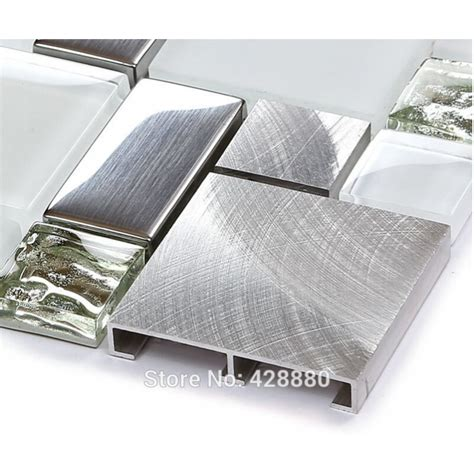 Metal Kitchen Backsplash Ideas - silver metal and glass tile backsplash ideas bathroom brushed stainless steel bravotti com
