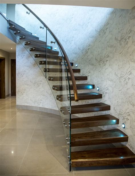 curved floating walnut stairs  offaly ireland