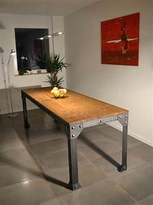 table cuisine style industriel collection avec decoration With deco cuisine avec grande table a manger bois