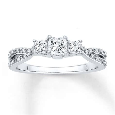 engagement ring 1 2 ct tw princess cut 14k white gold 99121660399