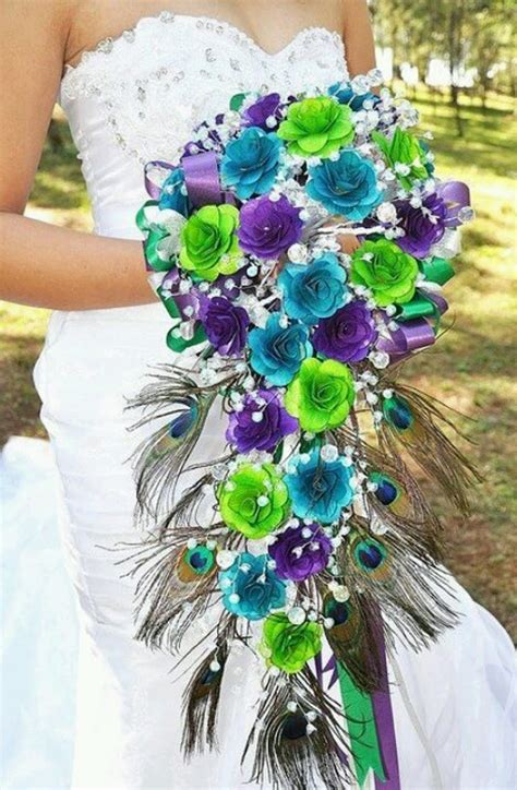 peacock wedding bouquet wedding flowers ideas
