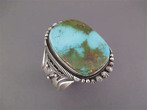 royston turquoise cuff bracelet  sterling silver