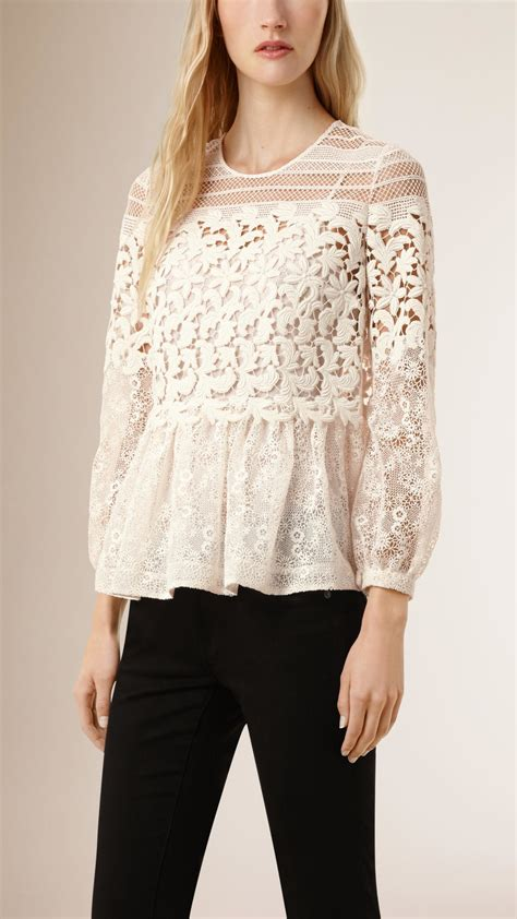 burberry blouse lyst burberry floral lace and mesh blouse in
