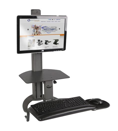 monitor standing desk taskmate go sit to stand desk single monitor arm