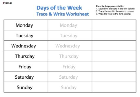 days of the week worksheets activity shelter 832 | Days of the Week Worksheets Tracing and Writing