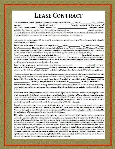 financial lease contract template  word templates