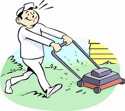 Clipart Yard Working Worker Lawn Care Transparent