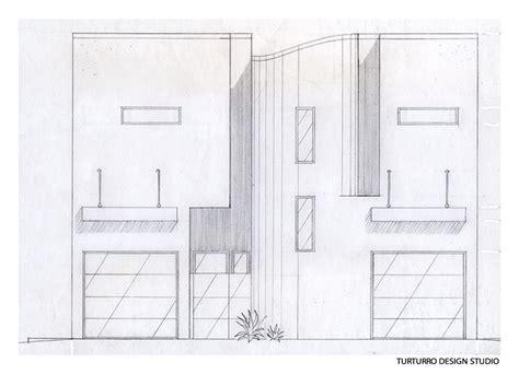 Front Façade Sketch, Ecofriendly Beach House In California