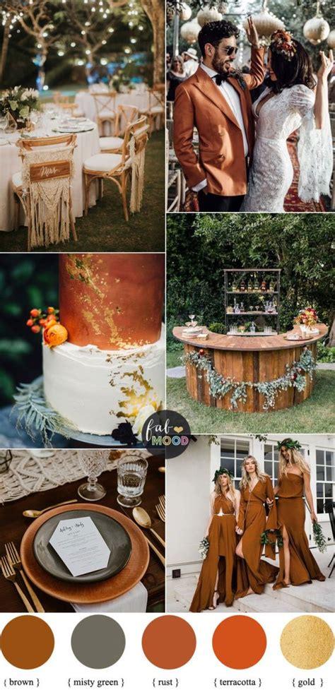 rust fall boho wedding terracotta colour autumn misty orange colors palette decor schemes themes colours weddings burgundy october palettes fabmood