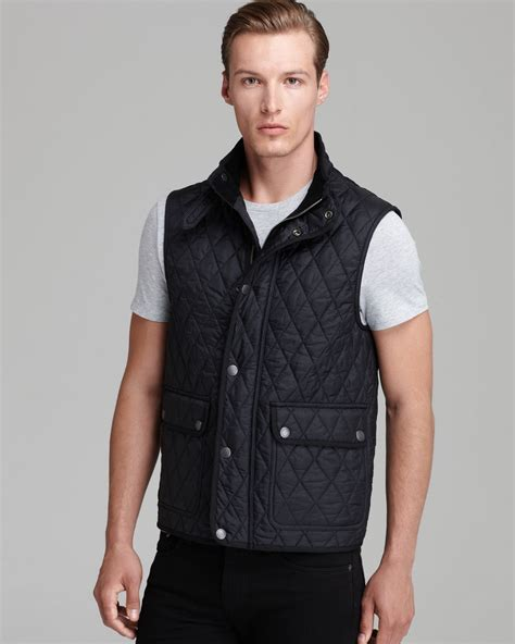 mens quilted vest lyst burberry haymarket quilted vest in black