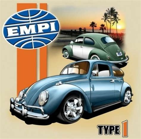 Empi T-shirt , Vw Volkswagen Type 1 Bug 100% Cotton