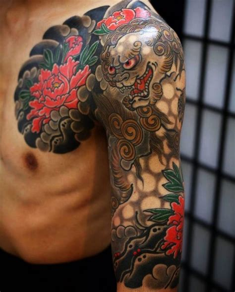 shisa dog halfsleeve tattoo design tattoos   love tattoo