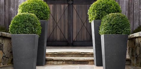 Weathered Cast Planters by Weathered Cast Slate Planters Restoration Hardware
