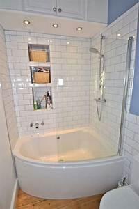 Simple Corner Tub  Shower Combo In Small Bathroom