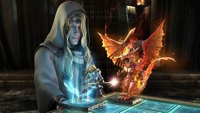 Sorcerer Fantasy Wallpapers Desktop 3d Wizard Dragon