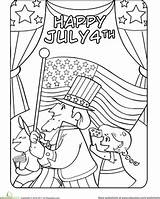 Coloring July Fourth Pages Worksheet 4th Parade Worksheets Education Activities Crafts Stars Stripes Colouring Printable Adult Adults Independence Printables Fireworks sketch template