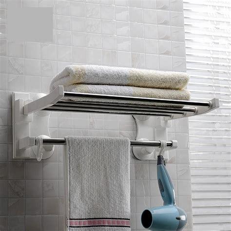 cm bathroom wall mounted towel rack standing foldable