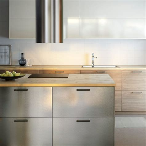 Ikea Stainless Kitchen Cabinets by Modern Ikea Kitchen With Wooden Worktops And A Combination