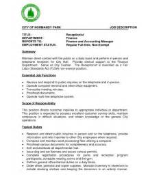 resume format template for job description receptionist job description resume resume format download pdf