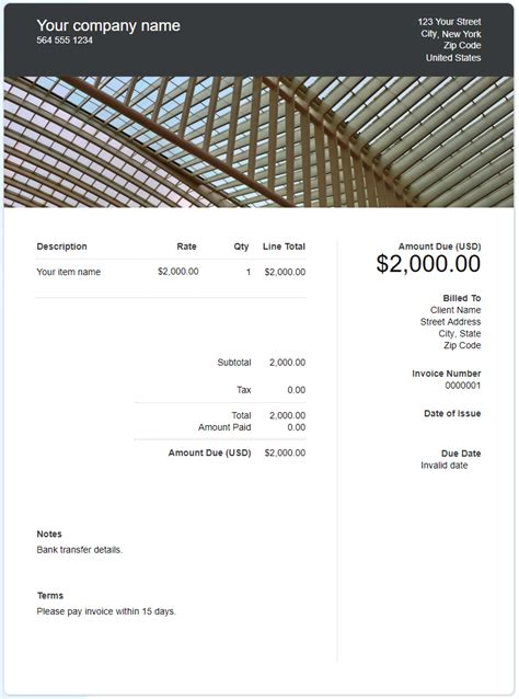 hotel invoice template    paid easily