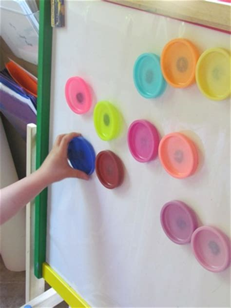 diy play dough magnets for the magnetic board teach 633   lids outdoor easels dots listening wind 316
