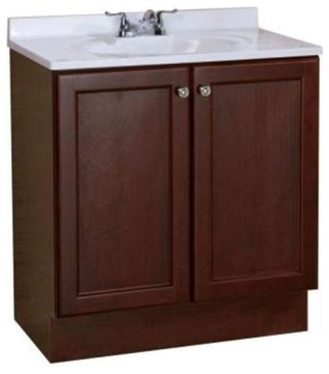 all in one 30 in w bathroom vanity combo in chestnut with