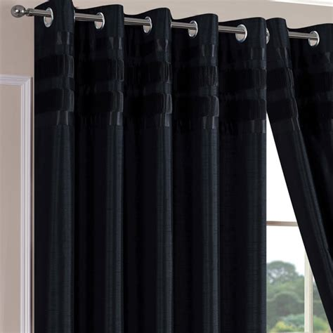 denver faux silk black ready made eyelet curtains eyelet