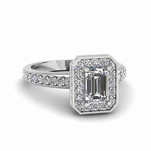 Emerald Cut Diamond Encased Basket Halo Ring In 14K White ...