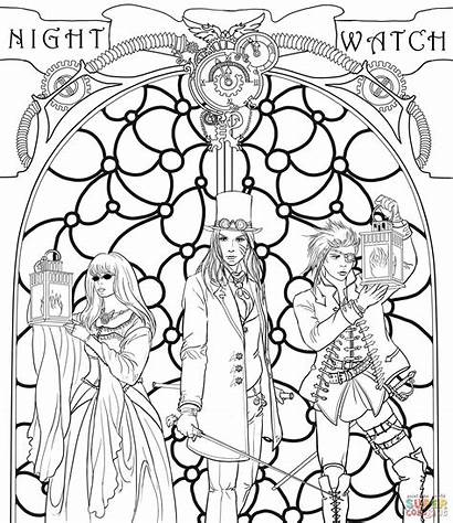 Steampunk Coloring Night Pages Crew Punk Printable