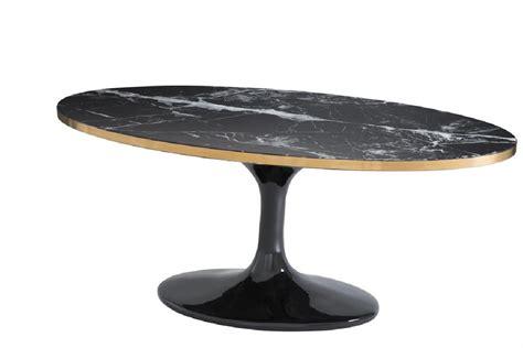 Belle Table Basse Noire Ovale Design Avec Son Plateau En