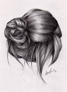 Drawn Curl Messy Bun Pencil And In Color Drawn Curl