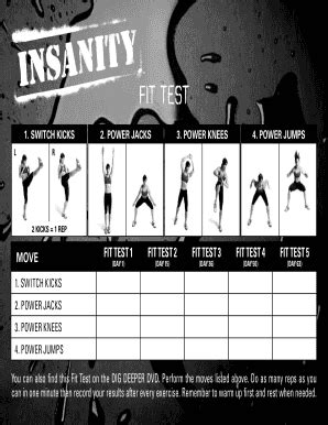 insanity fit test sheet fill  printable fillable
