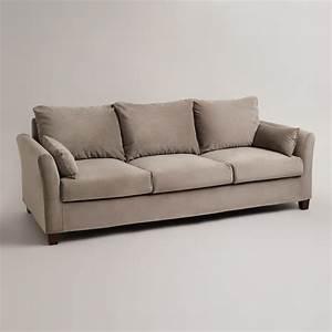 Gray mink velvet luxe 3 seat sofa slipcover world market for Grey sectional sofa slipcover