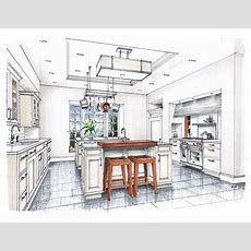 New Beaux Arts Kitchen Rendering  Watercolor Interior