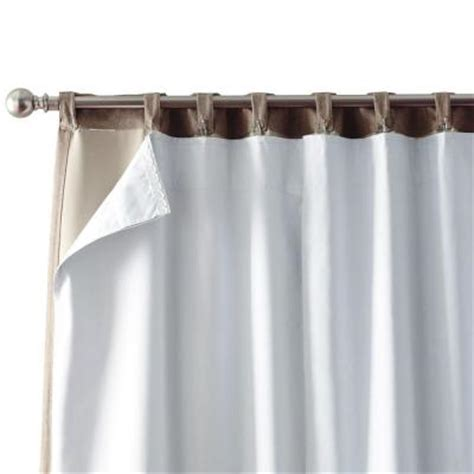 Room Darkening Drapery Liners by Home Decorators Collection White Blackout Back Tab Curtain