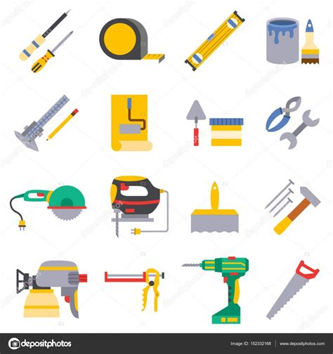 vector  color flat design house repair instruments