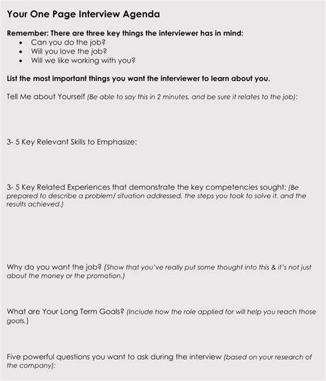interview agenda templates hire   person