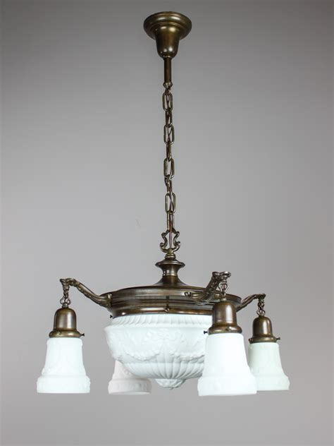 antique pan light fixture with milk glass 4 1 light