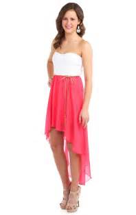 deb shops coral strapless belted chiffon high low casual