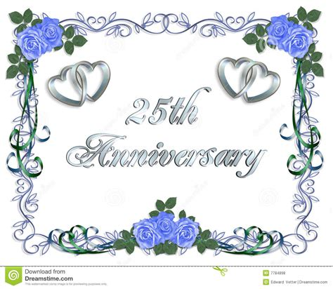 25th Wedding Anniversary Border Invitation Stock
