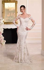 Sexy mermaid sheer illusion neckline tulle lace long for Illusion sleeve wedding dress
