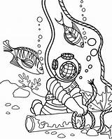 Coloring Diver Children Pages Topcoloringpages Fish sketch template