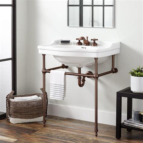 cierra console sink  brass stand bathroom