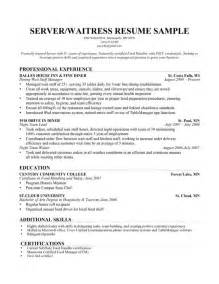 sle waitress resume canada sle waitress resume and tips design bild